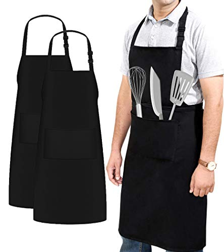Ruvanti Professional Grade XXL Size Black Aprons with 2 Pockets for Men/Women.