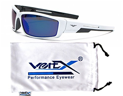 VertX Men's Polarized Sunglasses Sport Cycling Outdoor w/ Free Microfiber Pouch – White and Black Frame – Blue - Cycling Sunglasses White