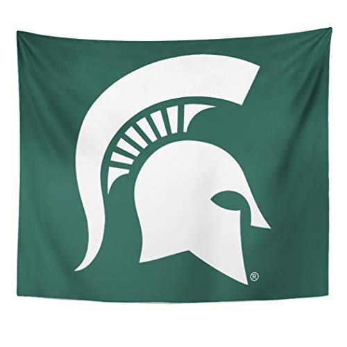 Semtomn Tapestry Artwork Wall Hanging Green Msufanmerch Michigan State University Spartan MSU Alumni Sparty 60x80 Inches Tapestries Mattress Tablecloth Curtain Home Decor Print