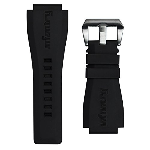(INFANTRY 24mm Black Military Silicone Rubber Mens Sports Watch Band Strap)