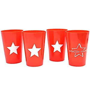 Metallic Cowboy Set of 4 Plastic Cups Star Design
