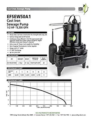 ECO-FLO Products EFSEW50A1 Sewage Pump, Black
