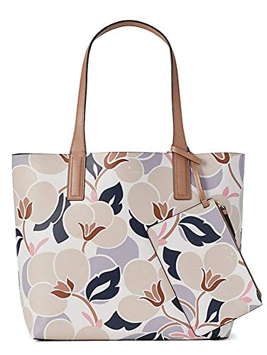 Kate Spade New York Arch Place Mya Breezy Floral Reversible Leather Tote Bag Shoulder Bag, Toasty Multi