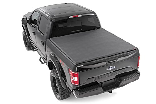 F150 2wd Truck Ford (Rough Country - 44515650 - Soft Tri-Fold Tonneau Bed Cover (6.5-foot Bed w/o Cargo Management System) for Ford: 15-18 F150 4WD/2WD)