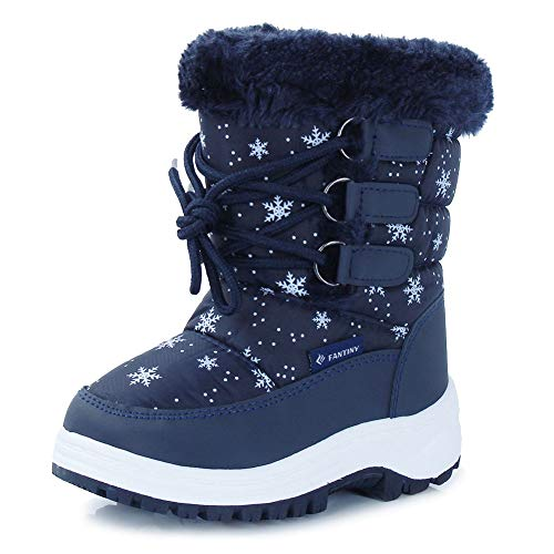 Winter Navy Boots (CIOR Fantiny Winter Snow Boots for Boy and Girl Outdoor Waterproof with Fur Lined(Toddler/Little Kids) TX3-Navy-26)
