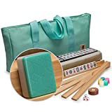 Yellow Mountain Imports Standard Size American Mahjong Set (Green) - All Accessories Included - Complete 166 Tile Set - 4 All-in-One Racks - Nylon Case - Scratch Resistant