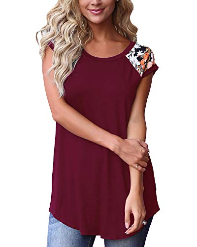 GADEWAKE Womens Casual Floral Print Color Block Short Sleeve T Shirts Blouses Tops Wine Cap Sleeve Cotton Tunic