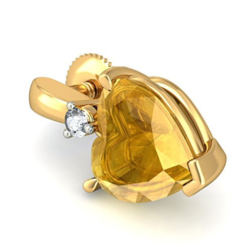 14K jaune Or 0,04CT TW White-diamond (IJ | SI) et citrine Pendants d'oreilles