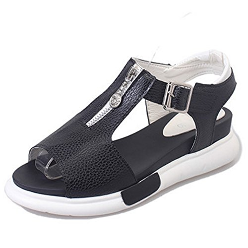 Beach Women Sandals Shoes Rome School TAOFFEN Black Girls Platform Fashion 7BPxwttq4