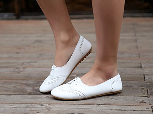 Bumud Womens Shoe Classic Lace Up Dress Low Heel Flat Oxford White Wdd50SNME