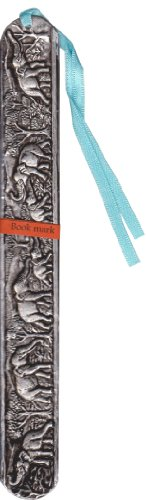 Rare Vintage Asian Thai Bookmark Lanna Chiang Mai Traditional Art Elephant Nickel Wood Design 20.5 x 2.5 cm From Thailand from Thai Home Decorative Thai Creative Art