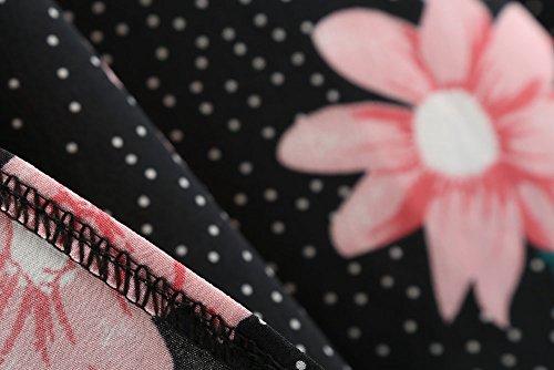 Femme Cocktail Annes Femme Longue Robe Robe Frenchenal Soiree Rockabilly Chic Vintage Imprime 50 Manche Femme de Noir Florale nUwnaxq1