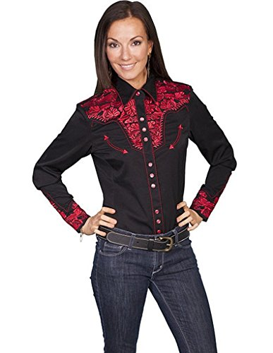Scully Women's Floral Embroidered Blue Retro Western Shirt Crimson Large Ladies Western Shirt