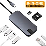 Capshi USB-C HUB Multiport USB C Adapter, 8-in-1 Type-C Dongle USBC Thunderbolt 3 Dock Portable with Gigabit Ethernet, 60W USB C PD Charge Port, 4K HDMI, SD MicroSD TF Card Reader, 3-USB 3.0 Ports