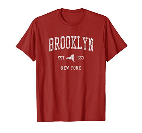 New York Vintage T-shirt - Mens Brooklyn New York NY T-Shirt Vintage Sports Design NYC Tee XL Cranberry