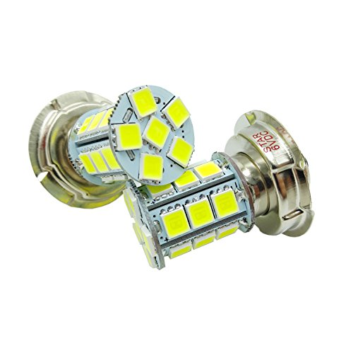 2 x 6V 24 SMD Motorbike Motorcycle P26S LED Bulbs Headlight Car Lamp for Scooter Moped White 6000K, 15W