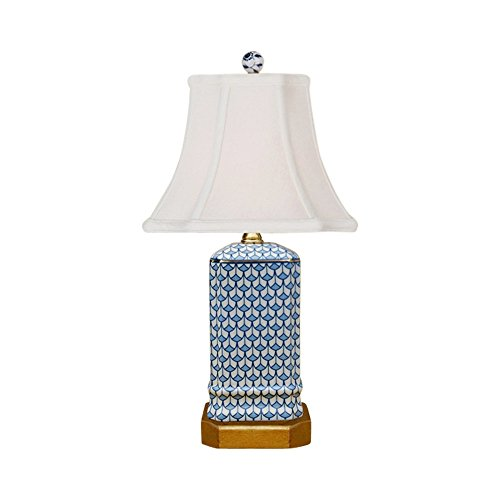 Blue And White Porcelain Table Lamps (Blue and White Geometric Square Porcelain Vase Table Lamp 15.5