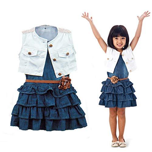 Hotopick Jurk voor kleine kinderen, babymeisjes, zomerjurk, retro jeans, jurk voor meisjes, in marinestijl, mouwloos…