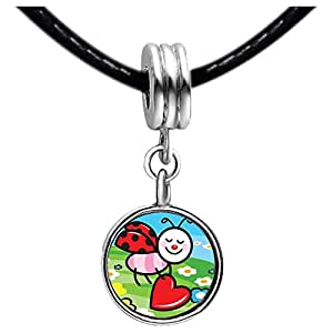 Chicforest Silver Plated Cartoon Theme Photo Blue Aquamarine Crystal March Birthstone Flower dangle Charm Beads, Little Lady Bug Easter Fits Pandora Charm