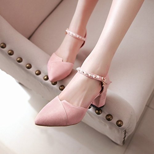 Heel DOrsay Chunky Womens Ankle Charm Strap Shoes Mid Pink Foot S7cqI