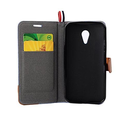Funda Motorola Moto G2 Billetera Carcasa, Forhouse Patrón de Mezclilla Ligero Flip Prima PU Cuero Wallet Caso con [Kickstand][Ranuras para Tarjetas y Caja][Cierre Magnético] Delgado Fit Anti-Arañazos  Negro