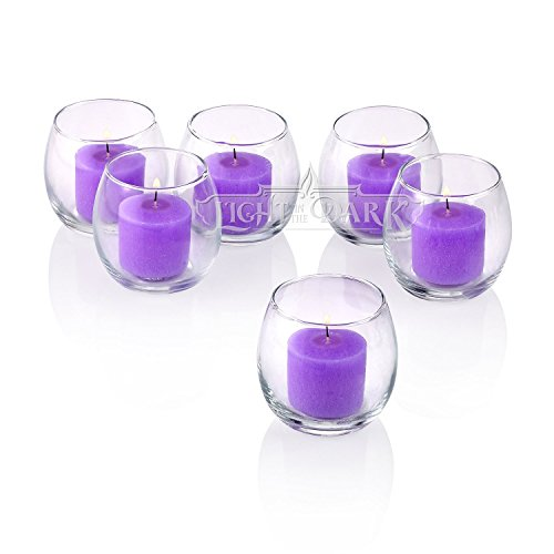 Light In the Dark Clear Glass Hurricane Votive Candle Holders With Lavender votive candles Burn 10 Hours Set of (Lavender Glass)