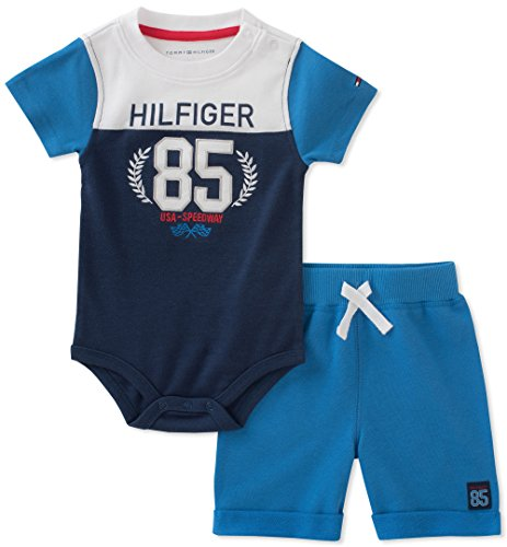 (Tommy Hilfiger Baby Boys 2 Pieces Creeper Shorts Set, Blue/Navy, 18M)