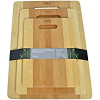 3 Piece Vina Premium Bamboo Cutting Boards Set in Small, Medium & Large, Eco-friendly, Antimicrobial