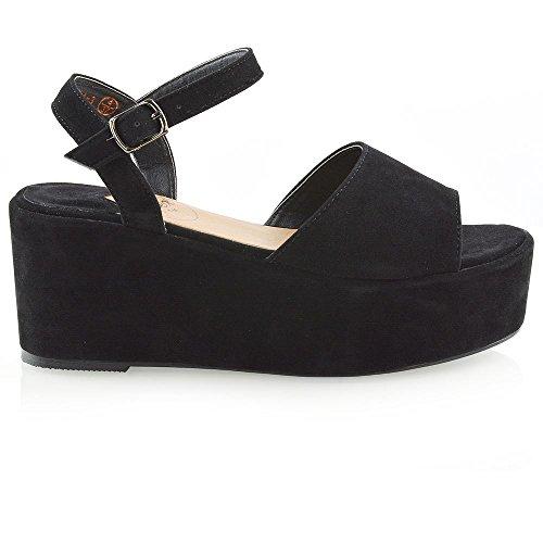 ESSEX GLAM Womens Platform Wedge Heel Sandals Ladies Ankle Strap Peep Toe Shoes Size 3-8 Black Dy8Yc