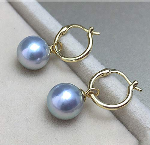 Natural 14mm Tahitian Gray South Sea Shell Pearl 14k Gold Plated Dangle Earring -