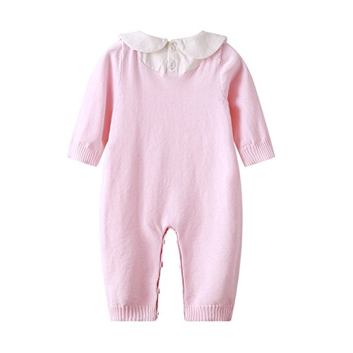 Auro Mesa Newborn Baby Clothes Infant Baby Pink Blue Knitting Romper Winter Infant Clothing (3-6M, Pink) by Auro Mesa (Image #2)
