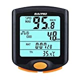 Wireless Bike Computer, RISEPRO Waterproof Bike Cycle Computer 4 Line LCD Backlight Display for Tracking Riding Speed and Distance, Waterproof Bike Computer YT-813