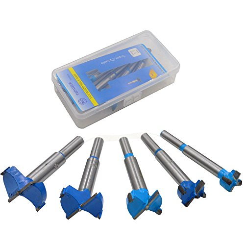 DerBlue 5Pcs Professional Forstner Drill Bit Set Woodworking Hole Saw Wood Cutter, Alloy Steel Wood Drilling Woodworking Hole Boring Bits Set Power Rotary Cutting Tool ()