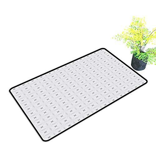 (Waterproof Door mat Geometric Squares Diagonal Crossed Lines Asian Influences Ancestral Oriental Eastern Motifs W20 xL31 Easy to Clean Grey Beige)