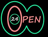 Porta-Trace Decorative LED Lit Sign with Open Logo, 14-Inch, Green/Pink