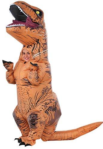 Jurassic World – Disfraz hinchable de dinosaurio T-Rex para niños, infantil Talla única (Rubie's 610821)