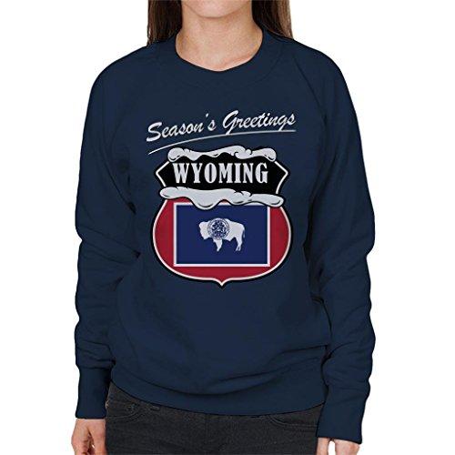 Greetings Coto7 Seasons Women's Navy Sweatshirt Wyoming Blue Christmas T5TOn