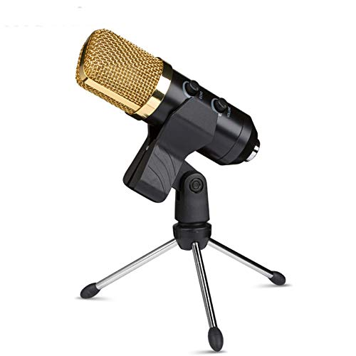 Bullker Kolefei BM700 Professional Condenser Studio Microphone Podcast Recording Mic with Stand for Home Golden