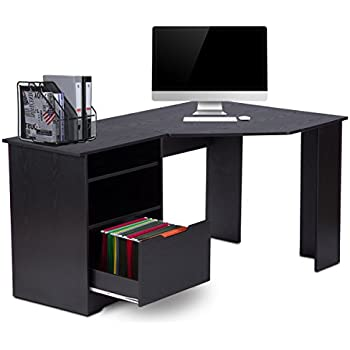 corner computer desk with bookshelves and file cabinet by devaise lshaped desk in black - Corner Computer Desks