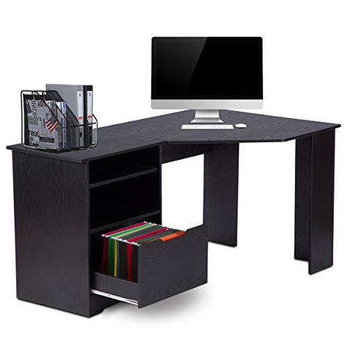 Corner Computer Desk with Bookshelves and File Cabinet by DEVAISE L-Shaped Desk in Black DEVAISE