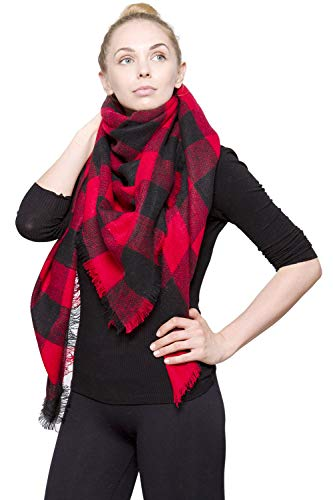 (BYOS Women Winter Versatile Chic Tartan Plaid Oversized Blanket Scarf Wrap Shawl (Bold Gingham Check Red & Black))