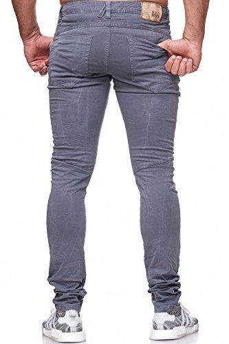 Jeans Bridge Bottoni Uomo Pantaloni Con Grigio Red Skinny Casual Stretch qTZWwE4
