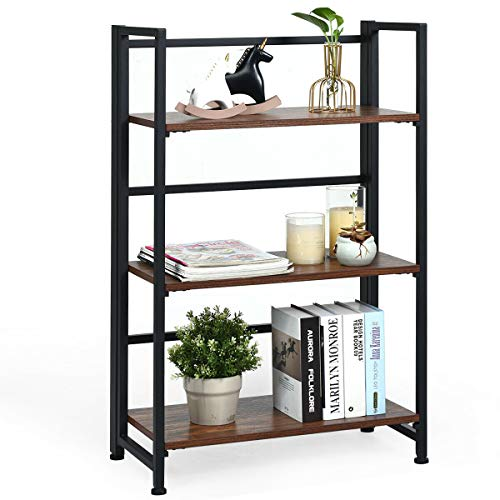 4-Tier Mordern Folding Bookshelf w// Metal Farme Storage Shelf Portable Rack Grey