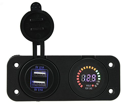Ambuker DC 12V led voltmeter Adapter Charger 4.2A Dual USB power Sockets flat panel with installation kits for Motorcycle car boat truck -