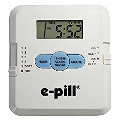 e-pill | Pocket Pillbox | 4 Dose Per Day Pill Dispenser with Vibrating and Audible Reminder Alarm | 4 Doses Per Day x 1 Day | Pocket Pill Reminder with 4 Dose Capacity has vibrating and audible alarms