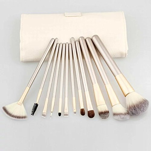 Brendacosmetic 12 Pcs Professional Champagne Makeup Cosmetic Brushes Set ,Essential Portable Soft Wool Cosmetic Brushes Makeup Tool for Beauty with Cream-colored - Of Stores Soho List