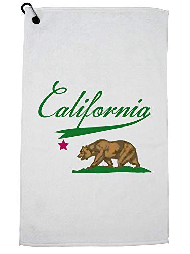 California Bears Golf - Hollywood Thread California - in Cool Green with Iconic Bear & Star Golf Towel with Carabiner Clip