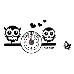 uxcell Owl & Love Hearts PVC Vinyl 3D Family Wall Clock Sticker Home Office Room Removable DIY Art Mural Decal Decor