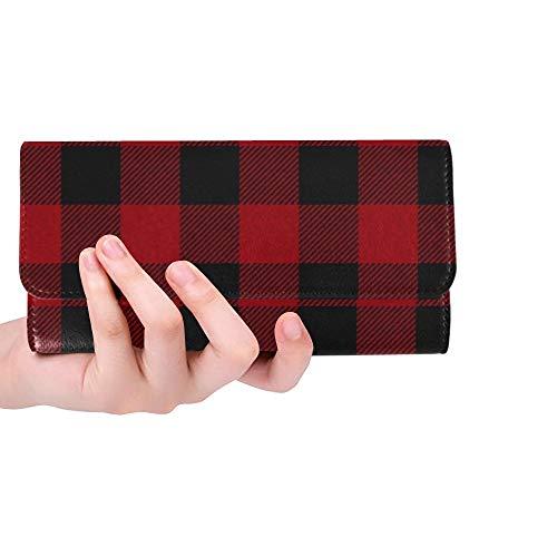 Plaid Tri Fold Wallet - Unique Custom Red Black Buffalo Plaid Women Trifold Wallet Long Purse Credit Card Holder Case Handbag