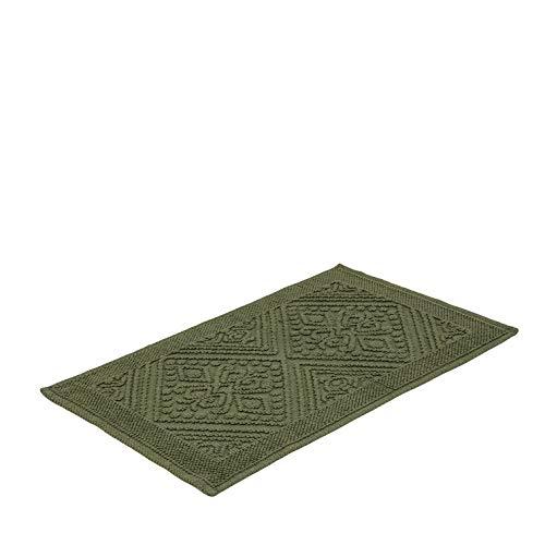 Tapete Para Casa Buddemeyer Tivoli Verde 50cmx80cm 100% Algodão com Base Antiderrapante